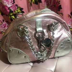 Juicy cosmic bowling mini bag purse silver leather